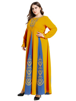 Arab Nation Suit-dress For Women Embroidered Hit Color Split Joint Long Sleeve Abaya Musulam Vestidos Burqa Robes Arabic Muslim muslim women abaya side slit fine embroidery arab long dresses female elegant party vestidos
