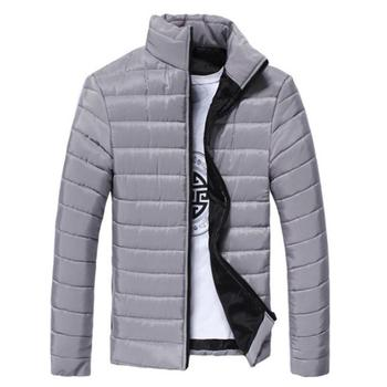 Winter Jackets Men Solid Color Parkas Stand Collar Long Sleeve Parkas Warm Cotton Quilted Coat Jacke