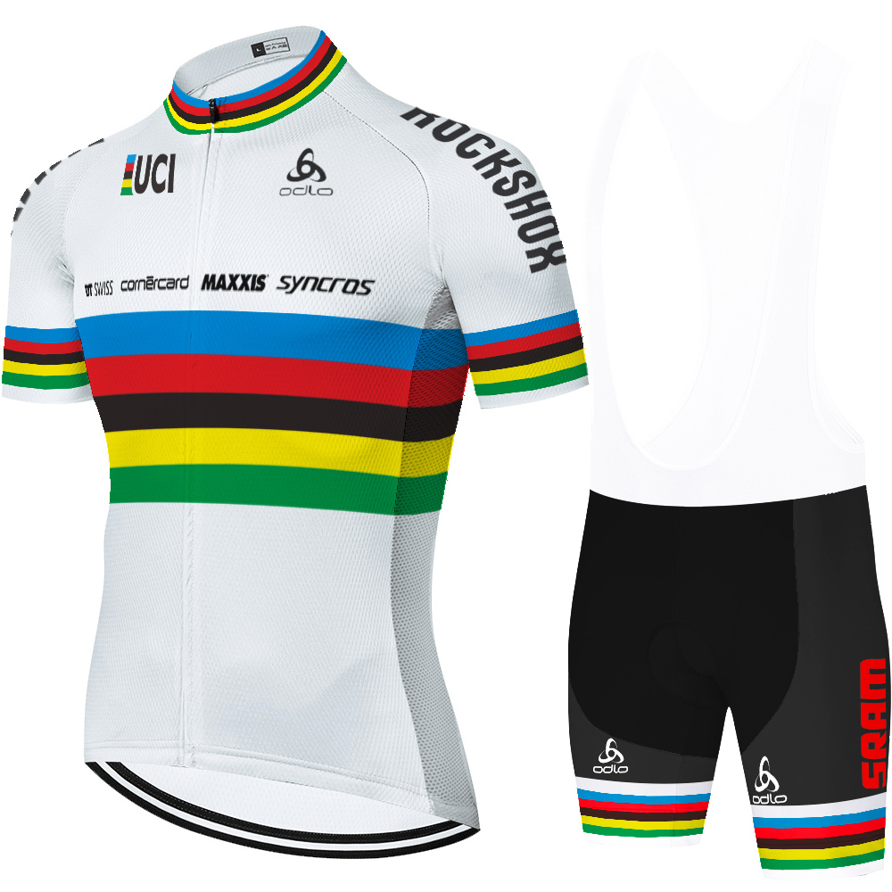 2020 rainbow uci TEAM Scottes-Rc bike jersey set biker shorts summer quick dry cycling jersey maillot ciclismo hombre verano