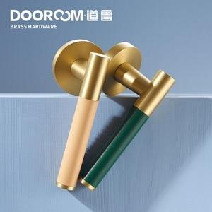 Image 4 - Dooroom פליז עור דלת מנוף סט מודרני אור יוקרה רב צבעים פנים שינה אמבטיה עץ דלת מנעול סט Dummy ידית