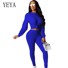 YEYA Jumpsuits Two Pieces Sets Bodycon Long Sleeve Clubwear Playsuits Eelgant O-neck Casual Rompers Skinny Sexy Female
