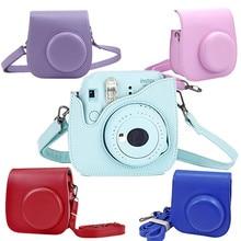 Para cámara Polaroid para Fujifilm Instax Mini 8 8 + 9 Classic Retro cámara de cuero PU con correa bolsa funda protectora