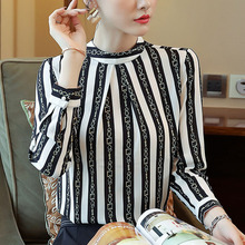 Fashion womens tops and blouses 2019 ladies long sleeve chiffon women blusas femininas Striped printing 0222