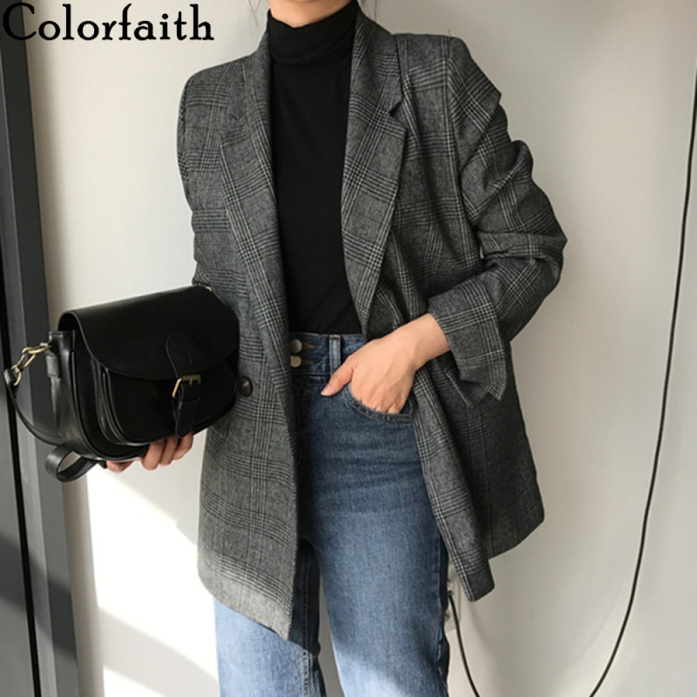 Colorfaith New 2020 Autumn Winter Women's Blazers Plaid Double Breasted Pockets Formal Jackets Notched Outerwear Tops JK7113(China)