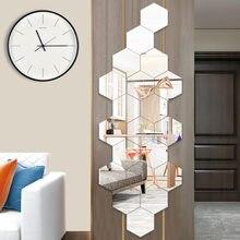 15 Pçs/set Acrílico decorativo espelho fundo da parede de casa auto-adesivo decorativo costura hexagonal montagem espelho