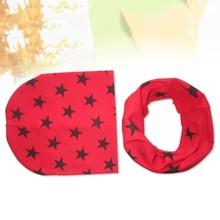 Новинка; Стильная однотонная детская шапка «кроше» со звездами; шарф; осенне-зимние топы для девочек; шарф для маленьких мальчиков; Детские шапки; шапка; шарф для малышей