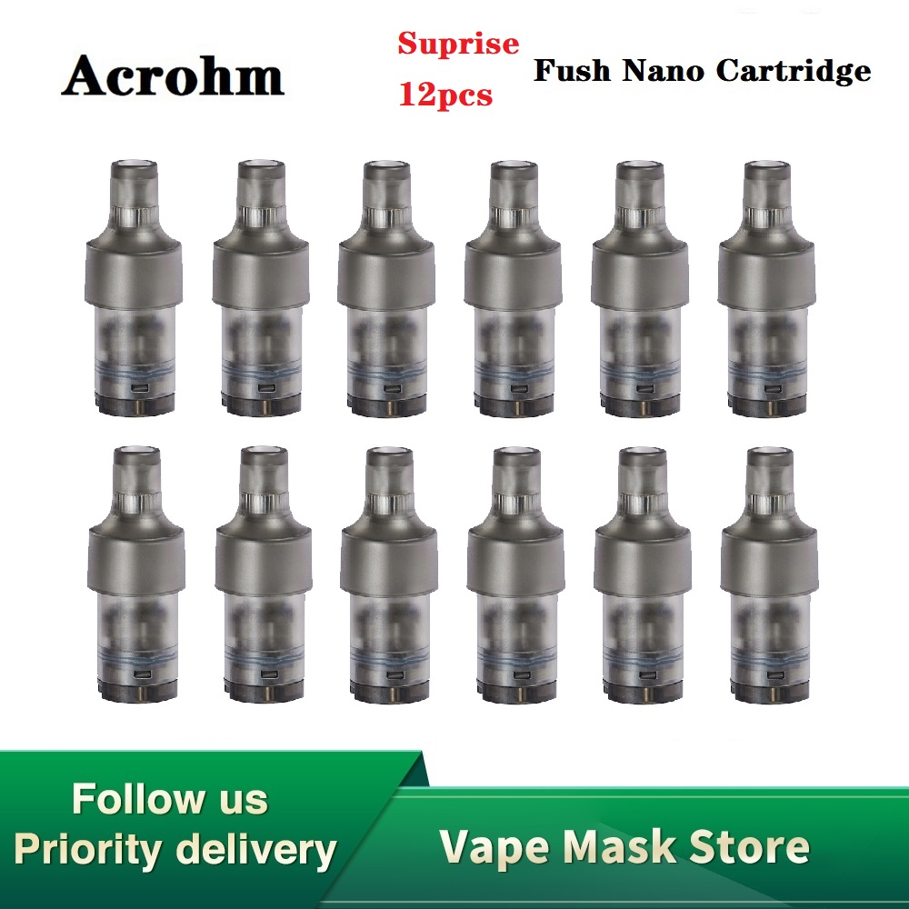 12pcs Hot Original Heavengifts Acrohm Fush Nano Cartridge 1.5ml Capacity E-cig Pod For For MTL Vape Suit For Fush Nano Pod Kit