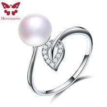 HENGSHENG, модные, элегантные, оригинальные, 925 пробы, серебряные кольца для женщин, дизайн в виде листа, кольцо, чистый Фианит, свадебные ювелирные изделия из натурального жемчуга