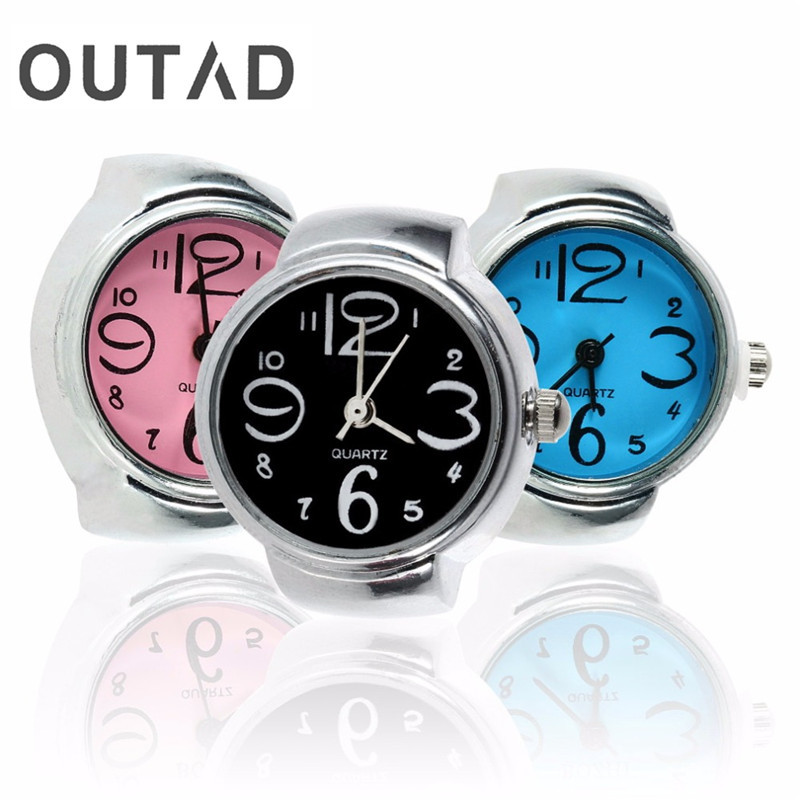 OUTAD Creative Design Round Elastic Stainless Steel Finger Ring Watch Women Girl Fashion Quartz Watch Gift