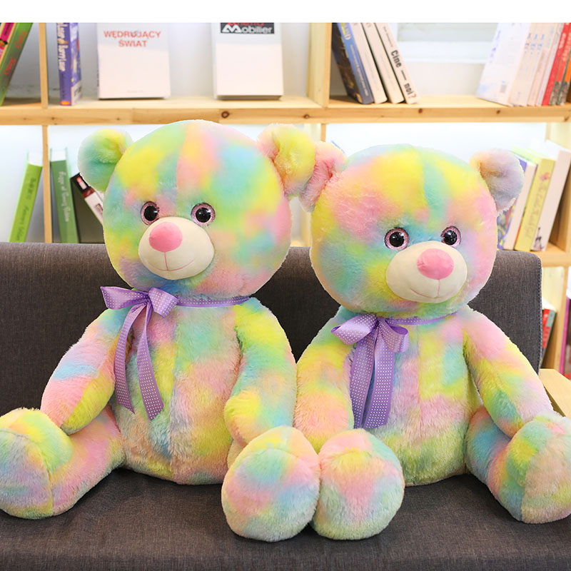 Rainbow Bear Plush Toys For Girls Soft Cute Gaint Stuffed Animals Plushie Colourful Teddy Bear Doll Birthday Gifts For Children Just6F