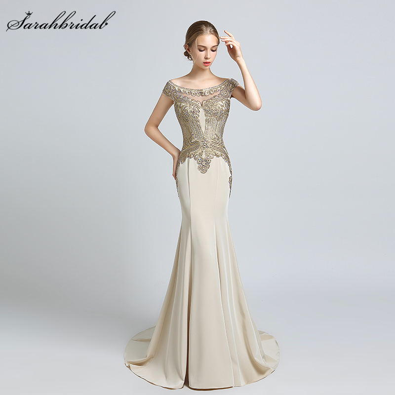 New Arrivals Luxury Elegant Long Mermaid Evening Dresses Satin Boat Neck Party Gowns Formal Real Photos Robe De Soiree LSX401
