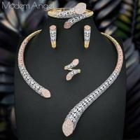 ModemAngel Luxury Brand Super AAA Cubic Zirconia Copper Women Wedding Naija Bridal Necklace Bangle Earring Ring Dubai Jewelry