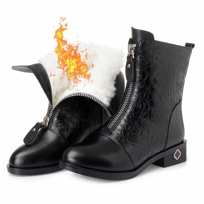 ASUMER büyük boy 35-43 moda hakiki deri bot bayan doğal koyun yünü yarım çizmeler zip bayanlar sıcak tutmak kar çizmeler 2020