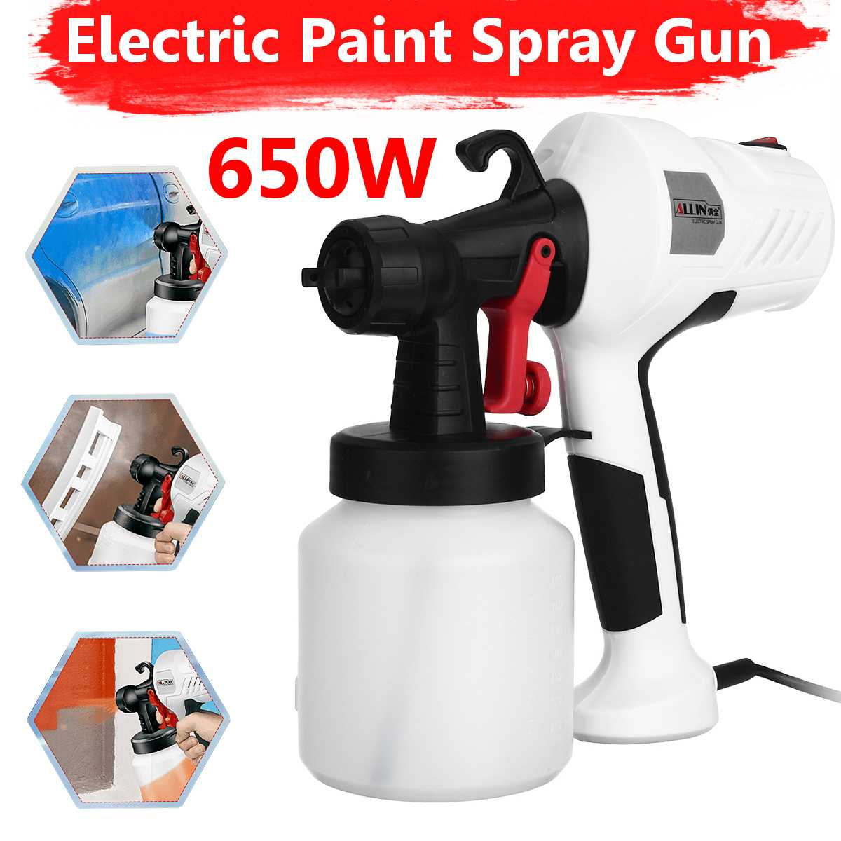 Handheld Spray Guns Paint Sprayers 220V 650W High Power Home Electric Airbrush Easy Spraying Clean Perfect For Beginner