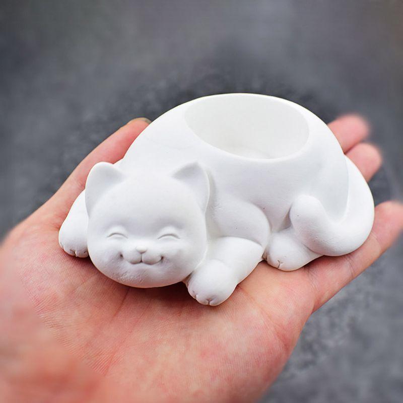 Cat Shape Flower Pot Molds Concrete Silicone Mold For Succulent Plant Flower Pot
