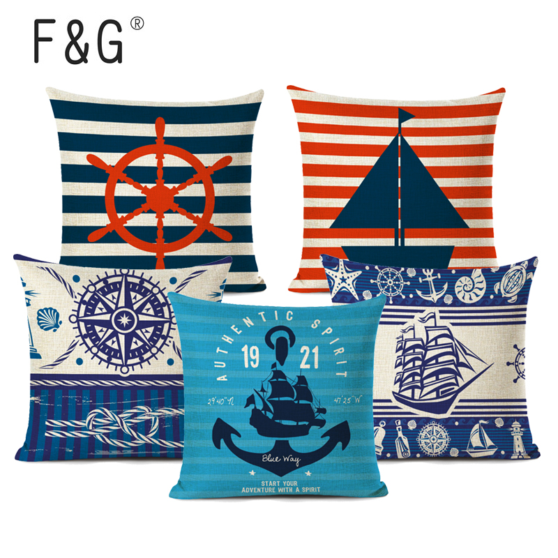 Decorative Nautical Cushion Cotton Pillow Cover Letters Lighthouse Boat Anchor
