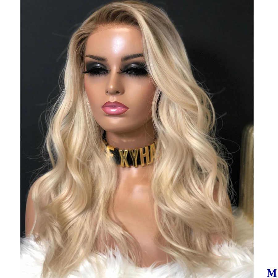 Simbeauty Омбре светильник, платиновая блондинка, водяная волна, предварительно отобранная с волосами ребенка 13x6, прозрачный кружевной передний парик, полный кружевной парик