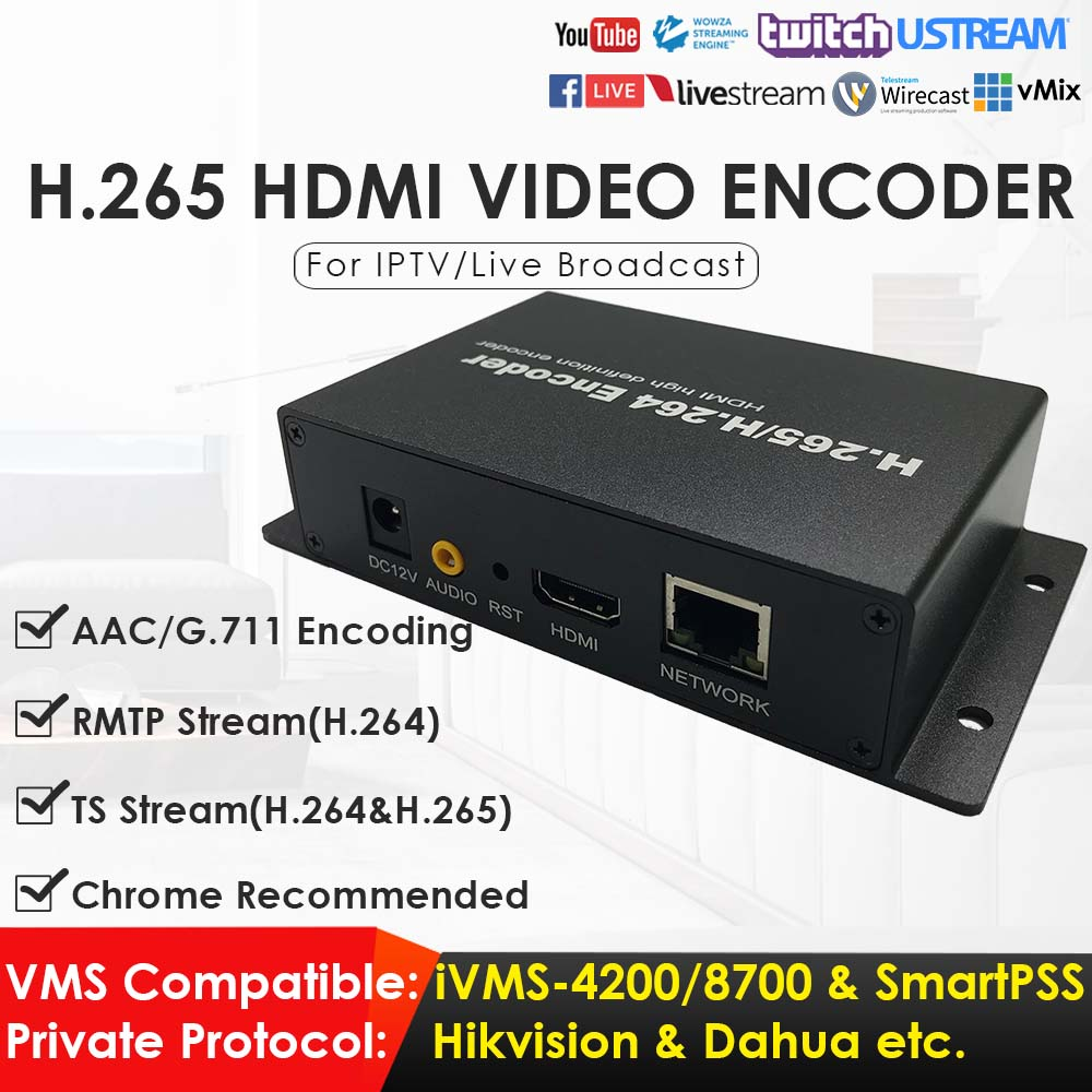 H.265 H.264 HDMI Network Video Encoder FHD 1080P HDMI Video Converter For IPTV Live Streaming Game Streaming To YouTube Facebook