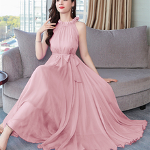 Korean Women Chiffon Dress Elegant Woman Sleeveles
