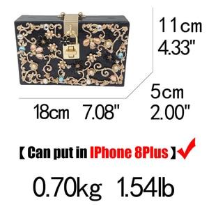 Image 5 - Boutique De FGG Women Black Acrylic Box Clutch Handbags Flower Crystal Evening Purses Party Chain Shoulder Crossboday Bag