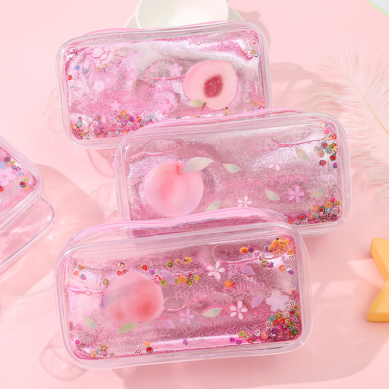 Kinbor Glitter Cute Peach Transparent Pencil Case Large Capacity Supplies Stationery Gift Tools Storage Back To School