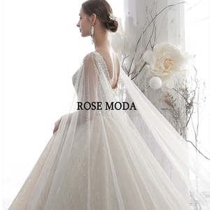 Image 5 - Rose Moda Luxury Deep V Neck Glittering Wedding Dress 2020 with Cape Crystal Wedding Gown Long Train Custom Make