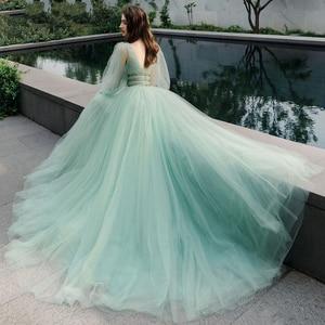 Image 4 - Verngo 2021 Korea Tulle A Line Long Prom Dress Puff Sleeve V Neck Floor Length Party Gowns Lady Formal Dress Vestido De Gala
