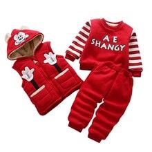 Autumn winter Children Clothing Boys Cartoon Casual Thick plush Vest jacket Pants 3pcs/Set Infant Outfit warm Kids Clothes Suit цена