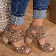 MoneRffi 2019 sandalias de moda para Mujer Vintage ahuecadas de Punta abierta sandalias de cuña de tacón cuadrado Zapatos de tacón alto Mujer