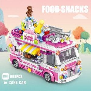 Мини-кирпичи City Creator, гамбург, мороженое, десерт, фигурка автомобиля, модель автомобиля, строительные блоки, игрушки для детей, подарки