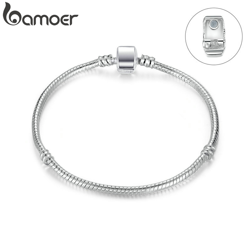 BAMOER High Quality Wholesale Silver Color Basic Snake Chain Magnet Clasp for Charm Bracelet Beads & Jewelry Making PA9010|bracelet magnet clasp|bracelet for charms|for bracelets - title=