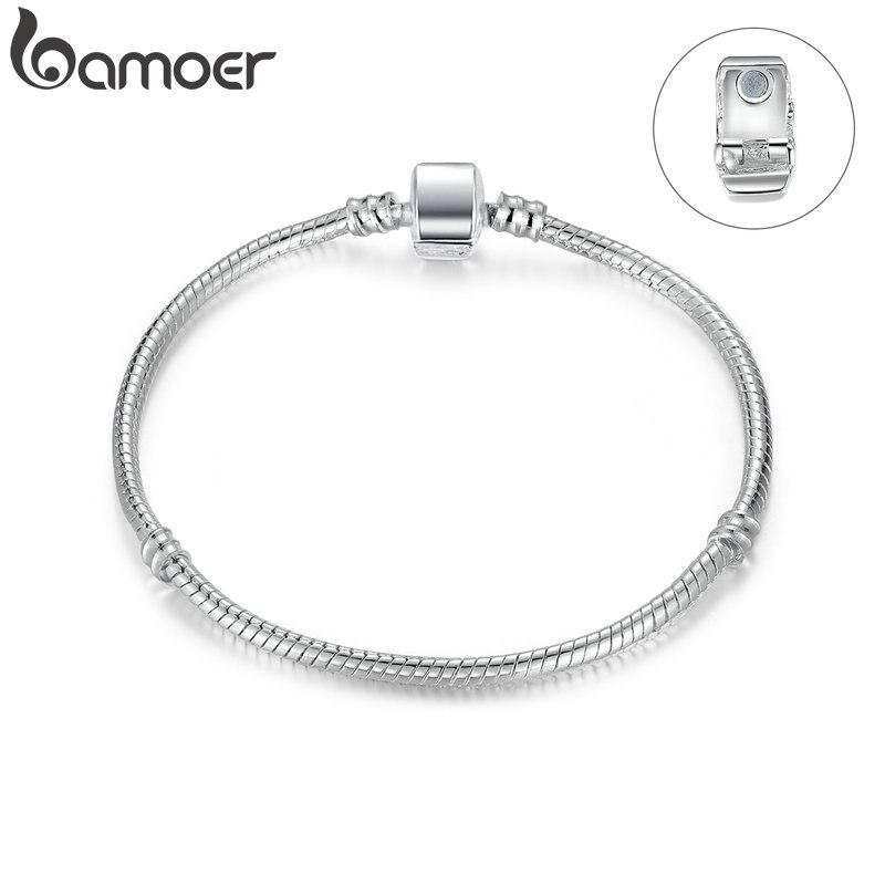 BAMOER wysokiej jakości hurtownia kolor srebrny podstawowy wąż łańcuch zapięcie magnetyczne dla uroku koraliki na bransoletkę i tworzenia biżuterii PA9010