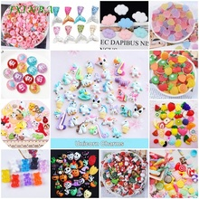 FXINBA 5Pcs/Lot Resin Slime Charms DIY Cake Phone Decoration Clay Unicorn Candy Flatback Clear Supplies Kit Toys