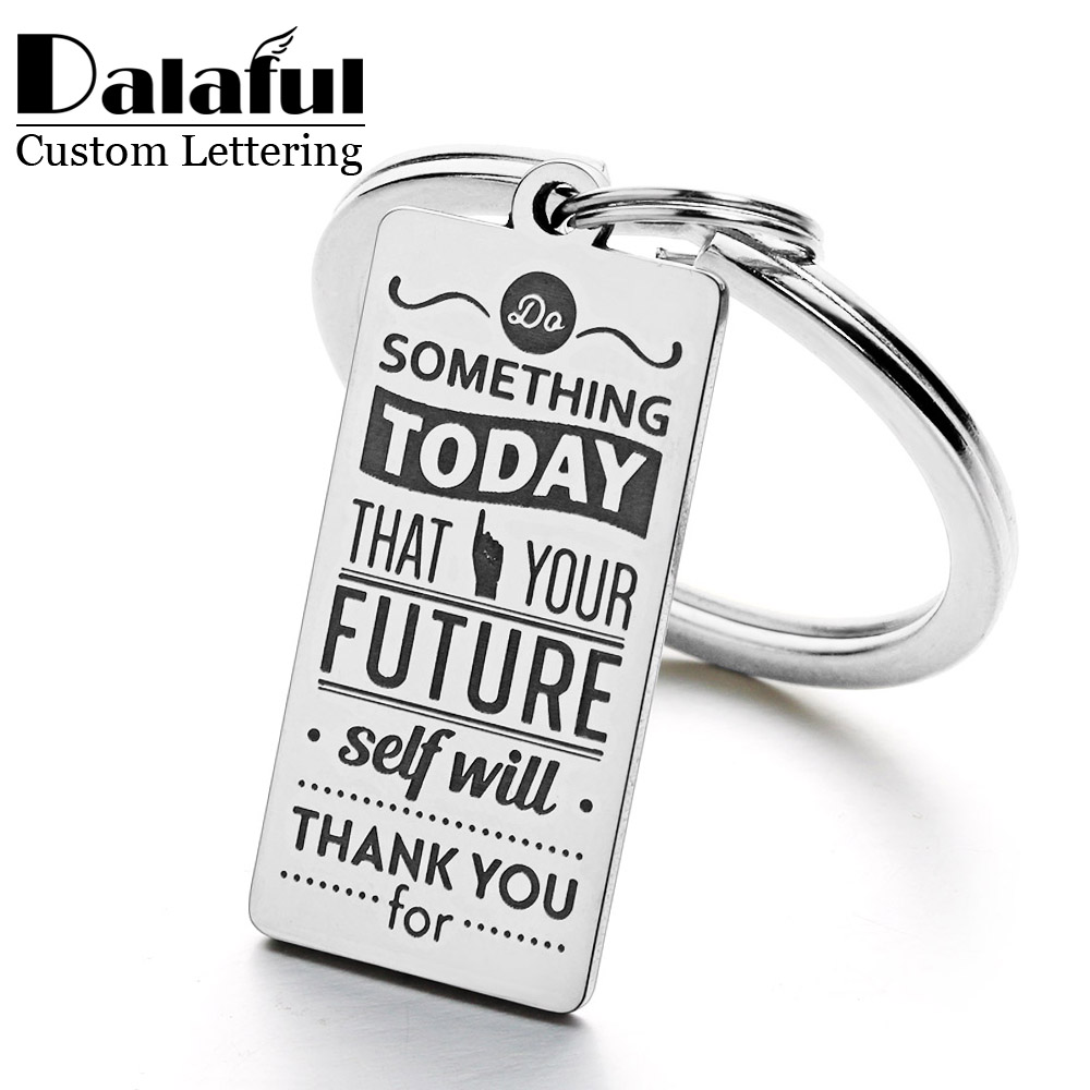 15*30mm Mirror Polishing Customized Name Personalized  Stainless Steel Keychain Inspirational Graduation Gift Keyring P012