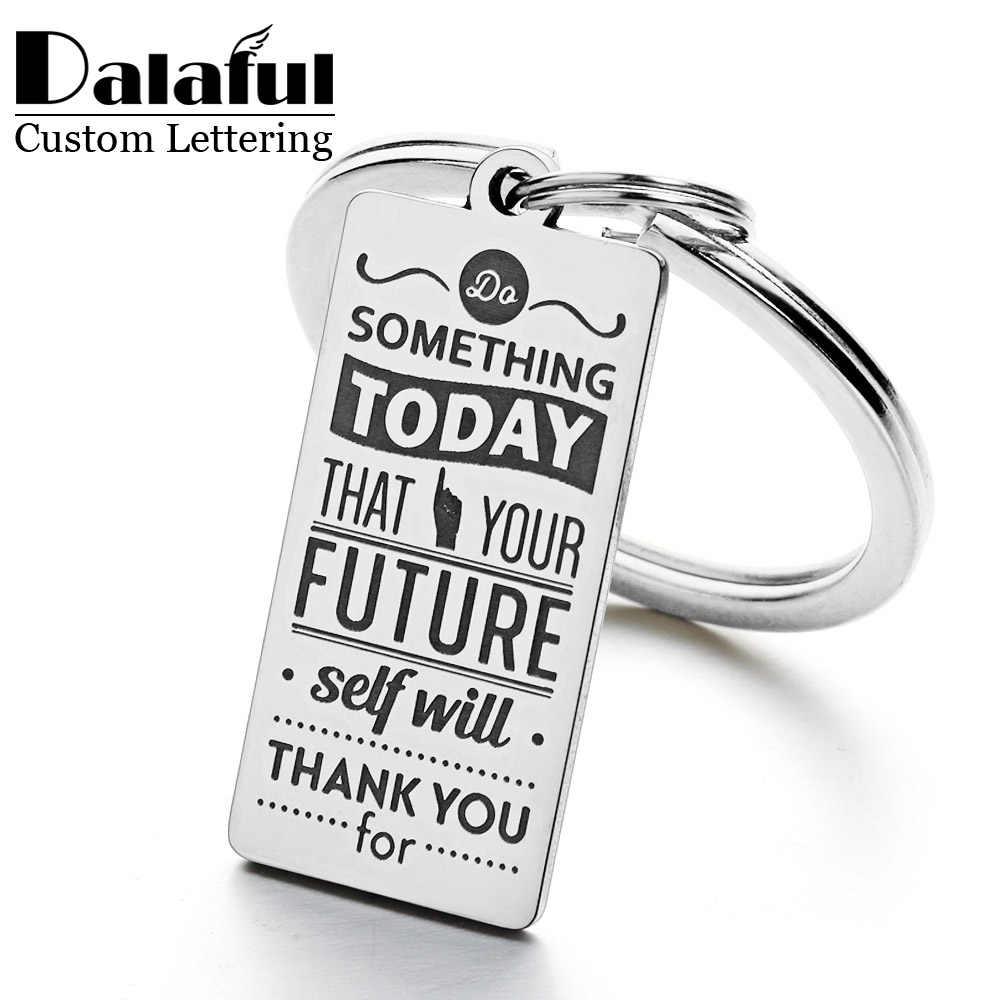 15*30mm espejo pulido nombre personalizado Acero inoxidable llavero inspirador graduación regalo llavero P012