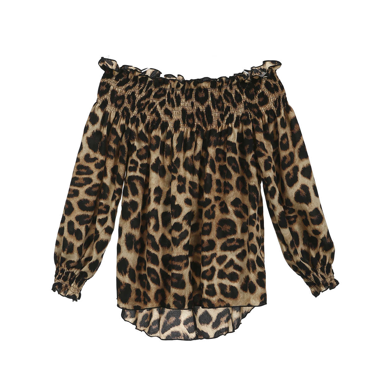 סתיו נשים גבירותיי כבויה סקסי דפוס מגניב נמר ארוך שרוול רופף חולצה מכתף חולצה קיץ צמרות חולצה