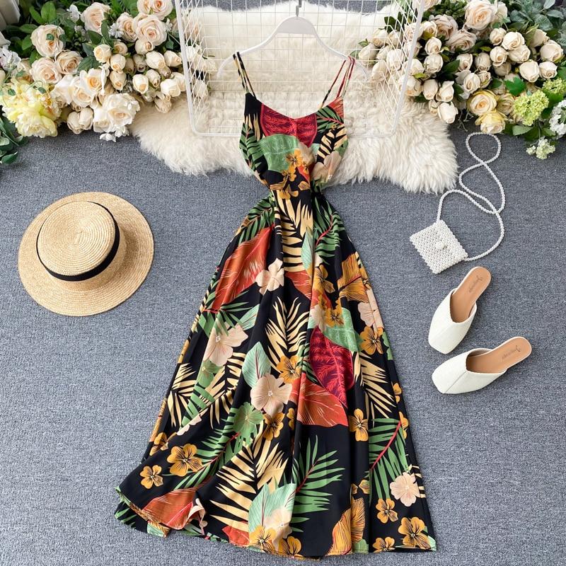 Boho 2020 Slim Sexy Floral Print Summer Midi Long Dress Party Spaghetti Strap Backless Casual Women Beach Holiday Tunic Dress