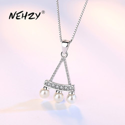 NEHZY 925 Sterling Silver Necklace Pendant Fashion Jewelry New Woman High Quality Crystal Zircon Pearl Necklace Length 45CM