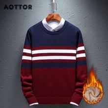 Chandails chauds en coton pour hommes, tricot, Slim, doux, de marque, décontracté, épais, en velours, hiver