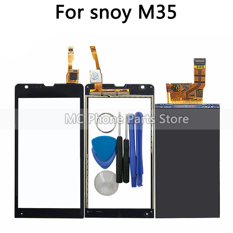 New M35 <font><b>LCD</b></font> Touch Screen For Sony Xperia SP M35h M35 M35i C5302 <font><b>C5303</b></font> <font><b>LCD</b></font> Touch Panel Display Sensor Glass Lens With Tools image