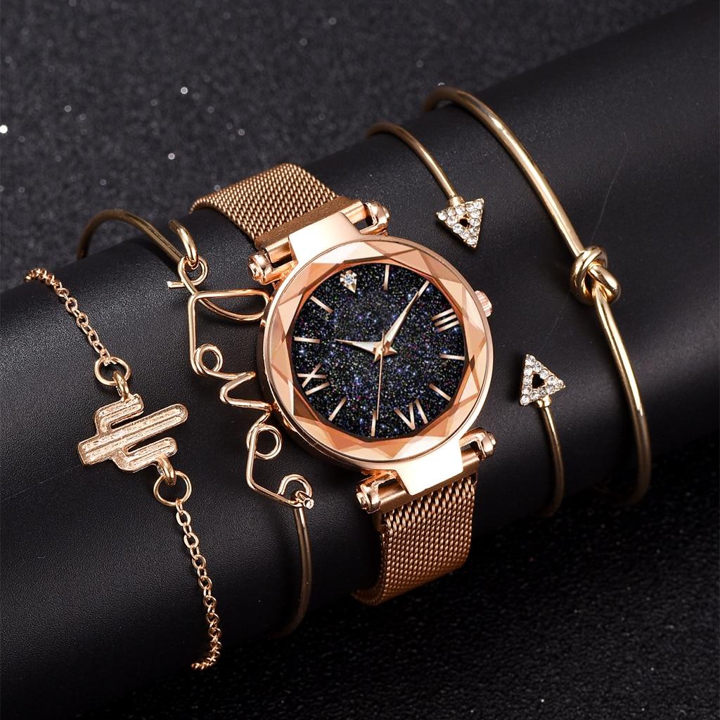 Luxury Brand Rose Gold Starry Sky Dial Watches Women Ladies Crystal Bracelet Quartz Wrist Watch 5 PCS Set Relogio Feminino