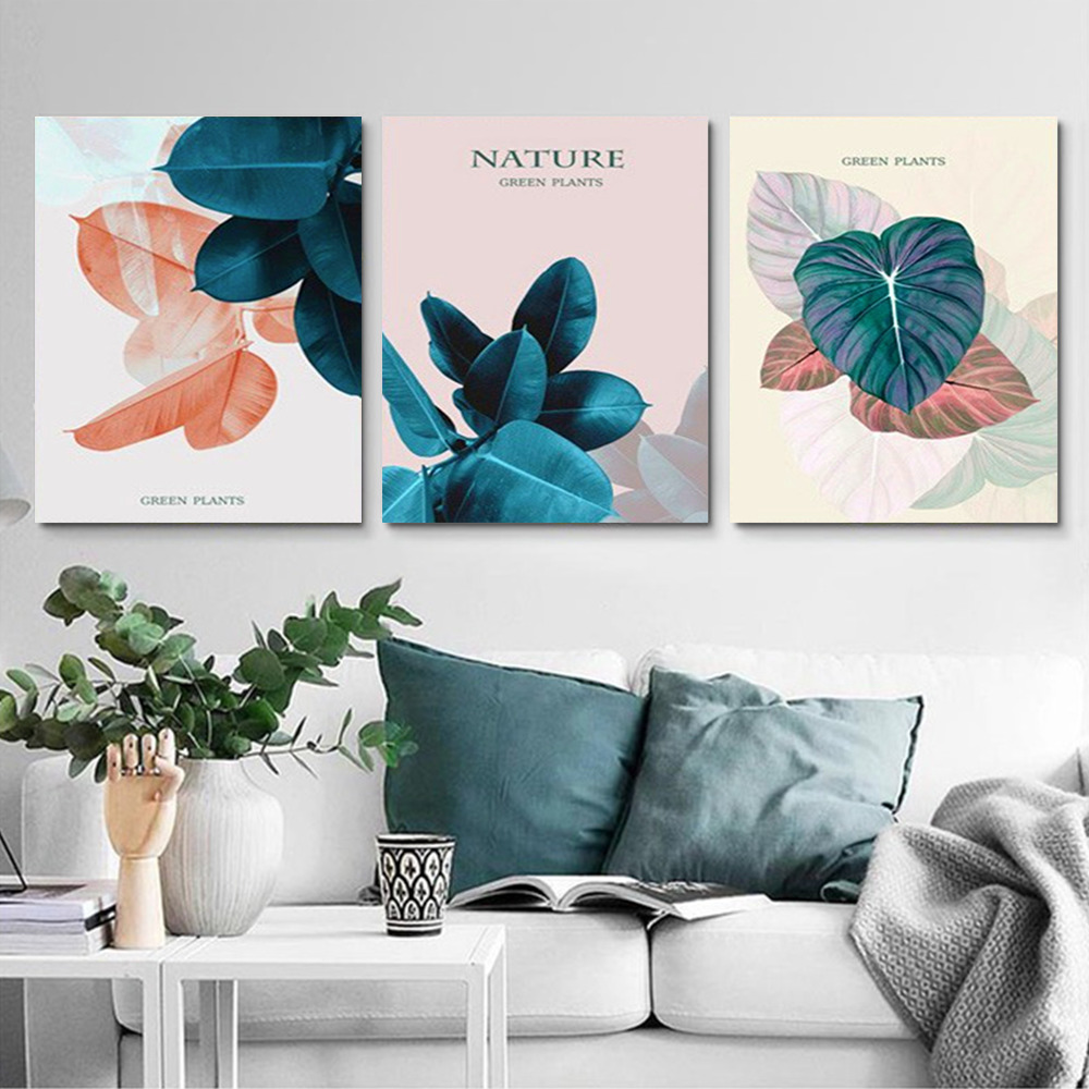 HUACAN DIY 3 Pieces Oil Painting By Numbers Plant HandPainted Kits Drawing Canvas Pictures Flowers Home Decoration Gift