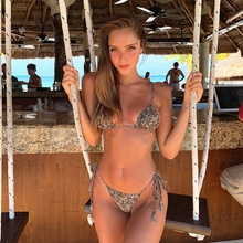 2019 Sexy Fashion Women Swimwear Little Leopard Print Swimsuit Bandage Backless Two Piece Bikini