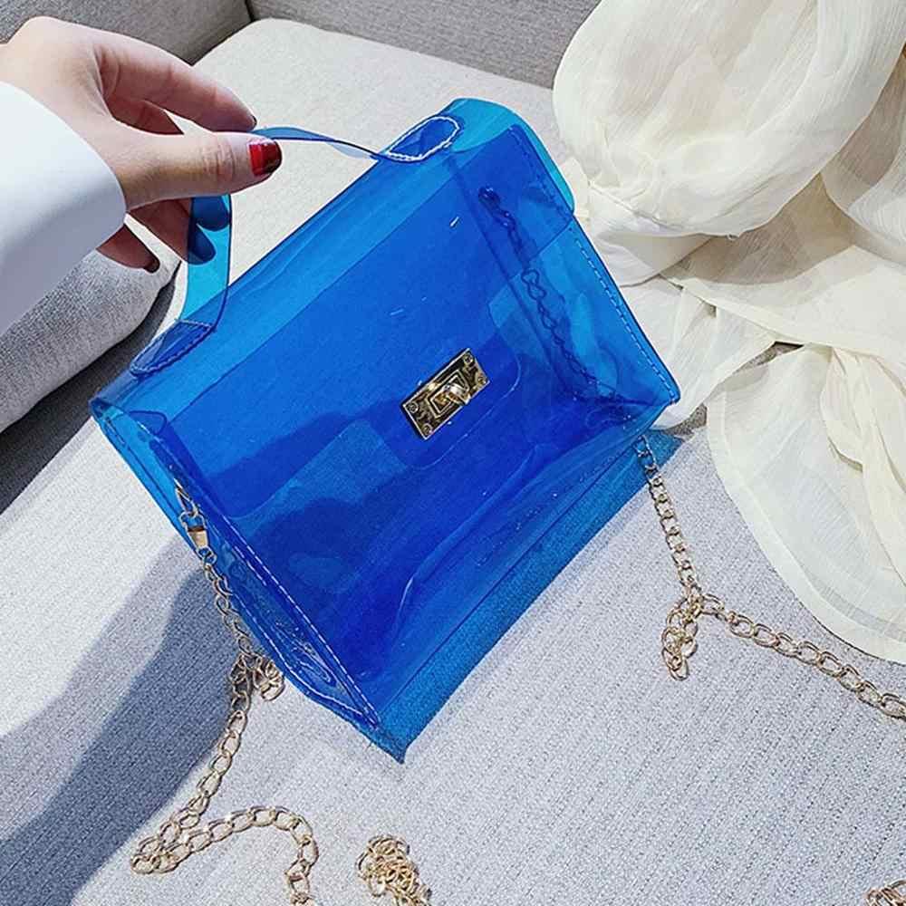 Fashion Wanita Transparan Bahu Casing Jelly Messenger Bag Warna Solid Tas