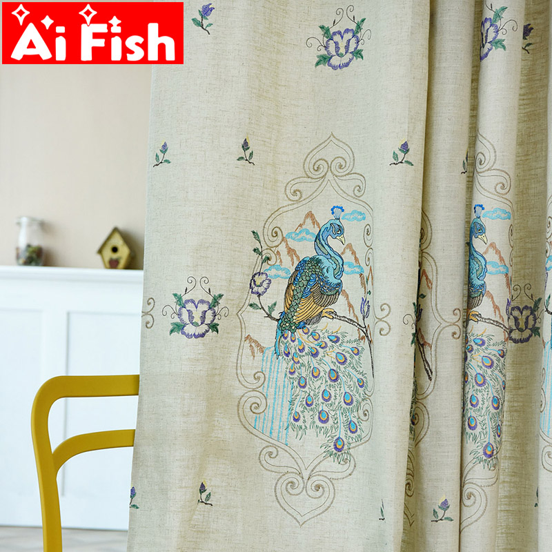 Luxury Curtains For Living Room Peacock Embroidery Floral Blackout Curtains For Bedroom European Gorgeous Tulle Voile Wp433#5