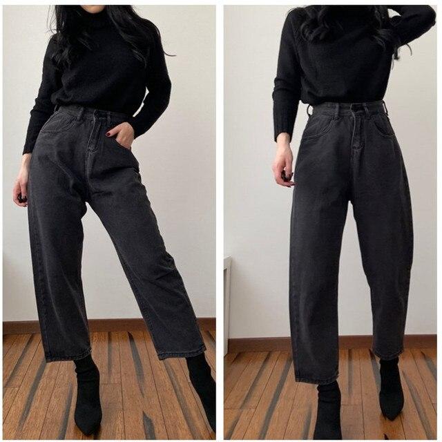 Jean droit femme taille haute jean copain rue Vintage Denim pantalon Maxi maman jean grande taille rétro 2019 jean noir bleu
