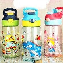 Детская школьная бутылка для питьевой воды с мультяшными животными, детская чашка 500 мл