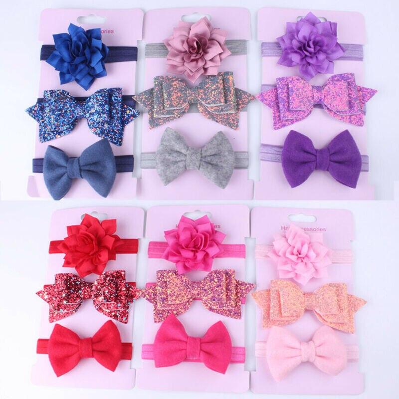 Baby Accessories Headwear 3Pcs/Set Cute Infant Baby Girls Bow Headband Elastic Hairband Hair Photo Props Wholesale Gift