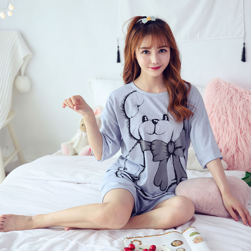 Shakespeare Fort Beauty New Style Summer Pajamas WOMEN'S Short Sleeved Korean-style Knitted Cotton Fresh And Sweet Cute Tracksui