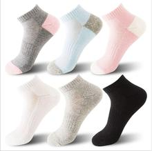 Cotton Women Color Fashionable Socks 5Pairs/Lot BreathableSweat uptake Half Terry Solid Sport Short Ankle